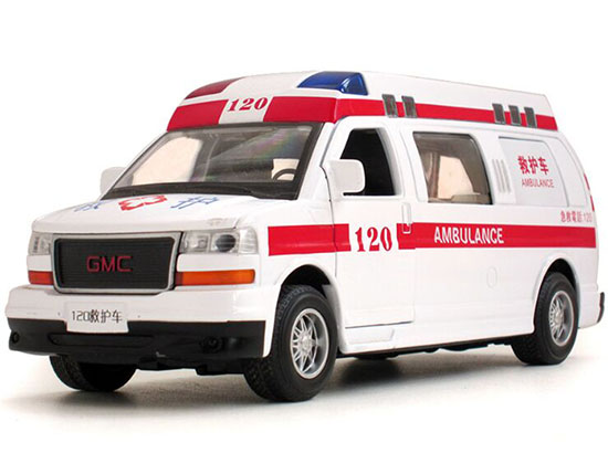 White-Red 1:32 Scale Kids Die-Cast GMC Ambulance Van Toy
