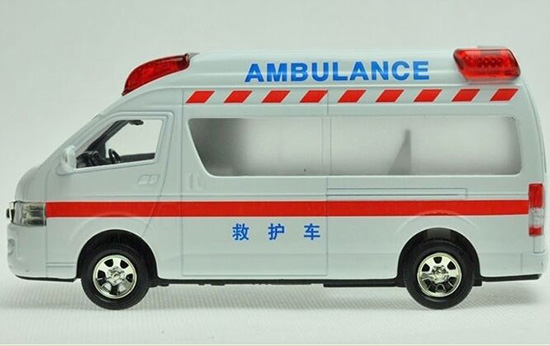 Kids White-Red Diecast Toyota HIACE Ambulance Van Toy