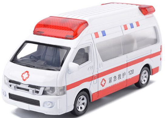 Kids White-Red Die-Cast Ambulance Van Toy