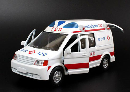 Die-cast Kids White-Red Ambulance Van Toy