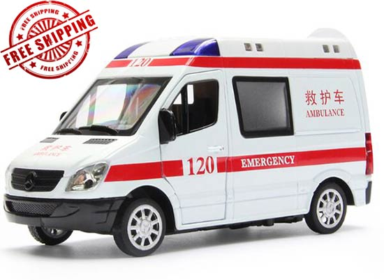 White-Red 1:32 Scale Diecast Mercedes-Benz Ambulance Van Toy
