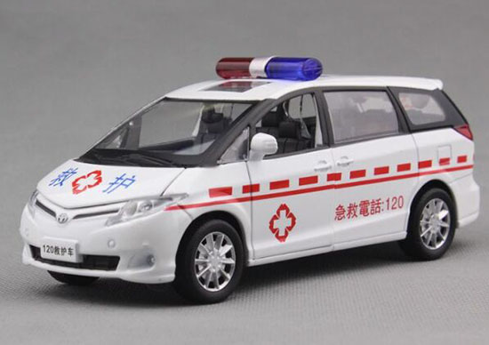 White-Red 1:32 Scale Diecast Toyota PREVIA Ambulance Car Toy