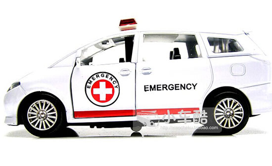 Die-Cast White-Red 1:32 Scale Kids Ambulance Car Toy