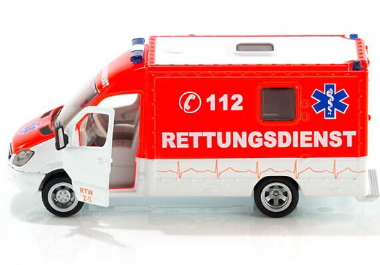 Red-White Kid SIKU 2108 Diecast Mercedes-Benz Ambulance Van Toy