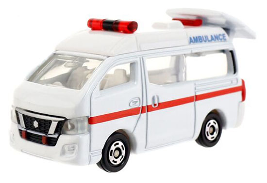 Kids Mini Scale White TOMY Die-cast Nissan NV 350 Ambulance Van