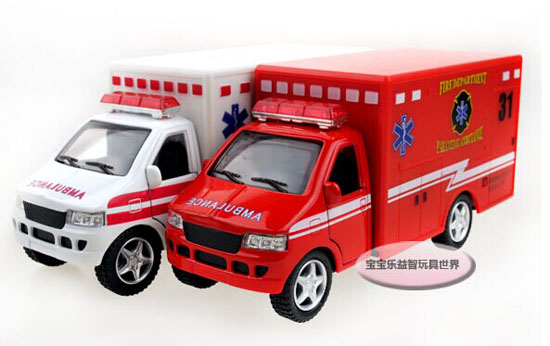 Kids Red / White Die-Cast Ambulance Container Truck Toy