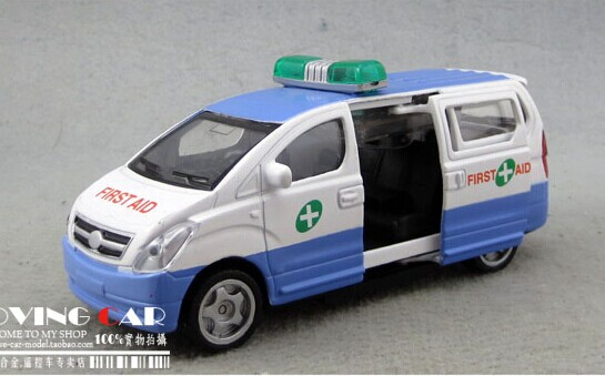 Kids Blue-White Die-Cast First Aid Van Toy