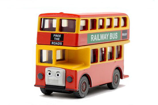 Kids Mini Scale Red Bulgy Theme Wooden Double Decker Bus Toy