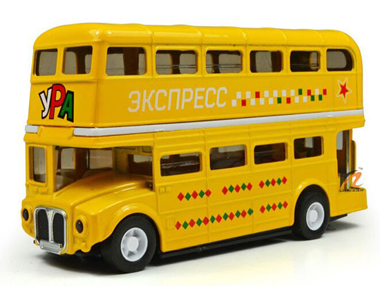 Yellow /White / Blue /Red Die-Cast London Double Decker Bus Toy