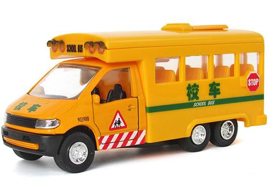 1:32 Scale Kids Yellow Die-Cast Chinese School Bus Toy