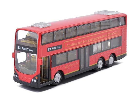 Kids Red / White / Yellow Die-Cast London Double Decker Bus Toy