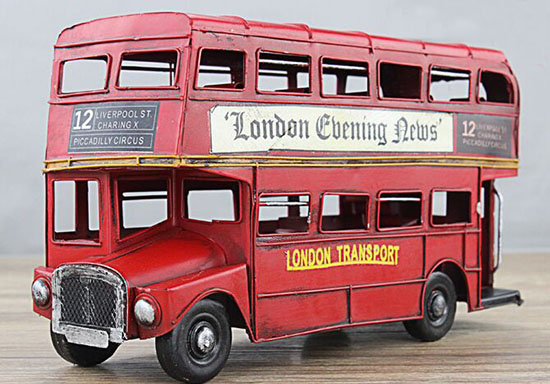 Red / White / Silver Tinplate Vintage London Double Decker Bus