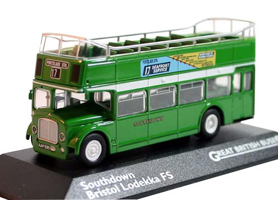 1:76 Scale Green Die-Cast Double Decker Sightseeing Bus Model