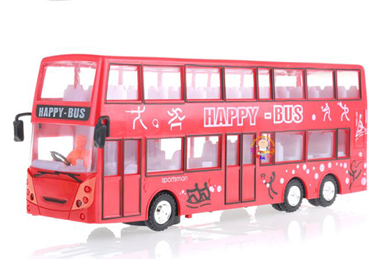 Red Kids Plastics Olympic Happy Double Decker Bus Toy