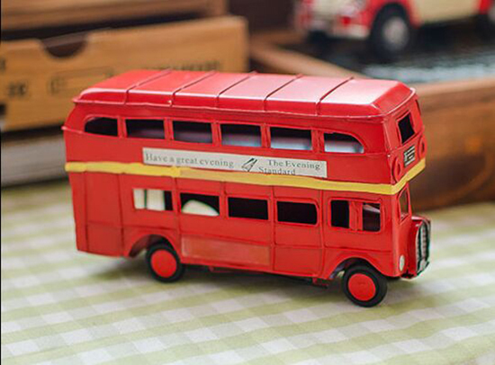 Small Red Tinplate Vintage NO.76 London Double Decker Bus Model