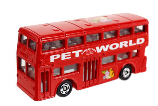 Mini Scale Kids Red TOMY 95 Die-Cast Double Decker Bus Toy