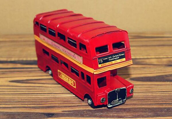 Red Small NO.15 Tinplate Vintage London Double Decker Bus Model