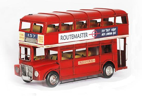 Vintage Medium Size Red Tinplate London Double Decker Bus Model