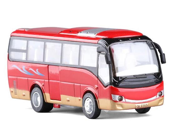 Kids Red / Green Pull-Back Function Die-Cast Tour Bus Toy