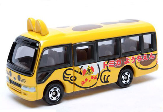 Mini Scale Yellow Diecast Toyota Coaster Kindergarten Bus Toy