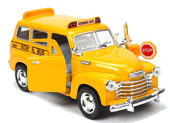Yellow Kids Pull-Back Function Die-Cast School Bus Toy