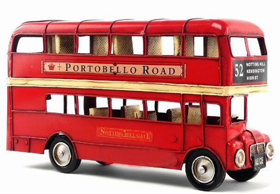 Red / Green Medium NO.52 Tinplate London Double Decker Bus Model