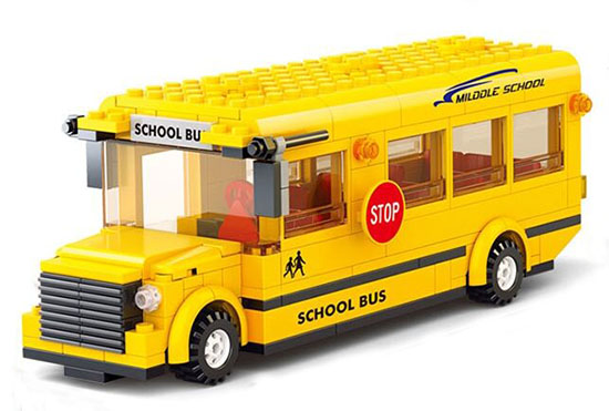 Kids Yellow 495 Pieces Building Blocks Plastic School Bus Toy