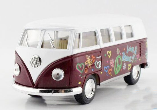 Yellow / Red / Green / Purple 1:36 Kids Die-Cast VW Bus Toy