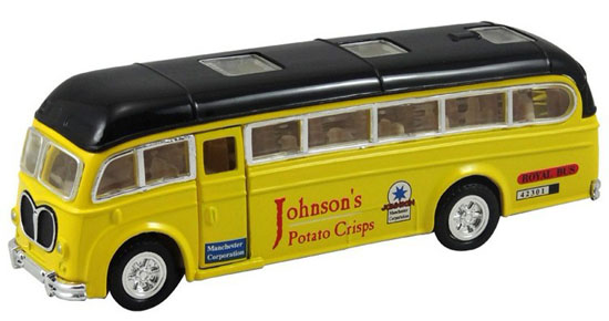 Kids Yellow /Red / Blue Pull-Back Function Die-Cast City Bus Toy