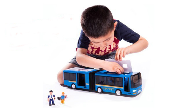 Kids Blue SIMBA Large Scale Die-Cast Articulated City Bus Toy