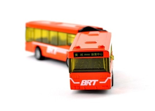 Kids Orange Pull-Back Function Die-Cast BRT Articulated Bus Toy