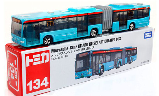 Blue 1:120 Kids TOMY Die-Cast Mercedes Benz Articulated Bus Toy