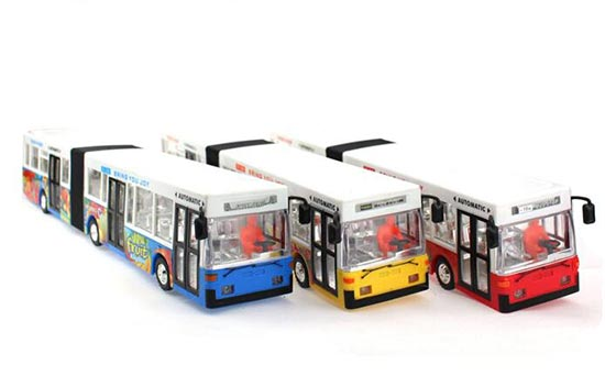 Red / Yellow / Blue Kids Plastic Electric Articulated Bus Toy