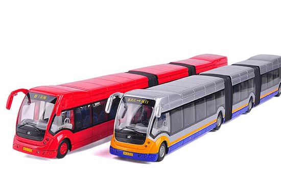 Red / Silver 1:50 Scale LION-TOYS Die-Cast Articulated Bus Model