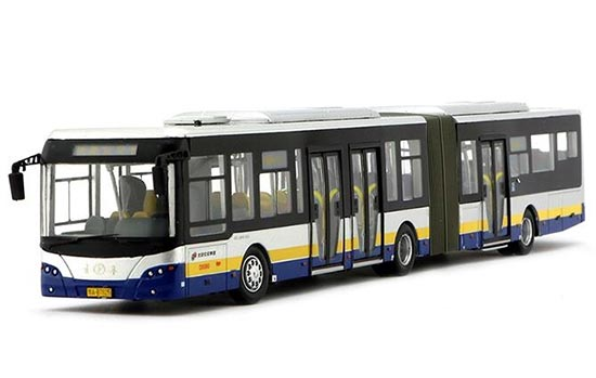 1:64 Scale Silver YoungMan Diecast BeiJing Articulated Bus Model