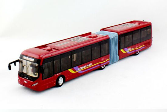 1:42 Wine Red Die-Cast YoungMan BRT Articulated Bus Model
