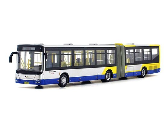 Silver-Yellow 1:64 NO.113 Die-Cast JingHua Articulated Bus Model