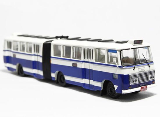 1:76 NO.68 White-Blue Die-Cast ShangHai SK661F Articulated Bus