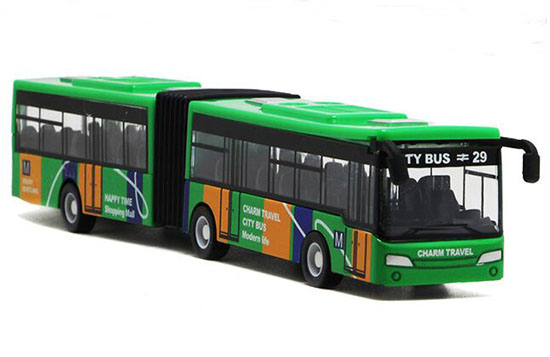 Green /Red /Blue Pull-Back Function Die-Cast Articulated Bus Toy