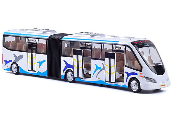 Kids White Dolphin Patterns Die-Cast Articulated Bus Toy