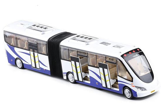 Kids Blue /Green Pull-Back Function Die-Cast Articulated Bus Toy