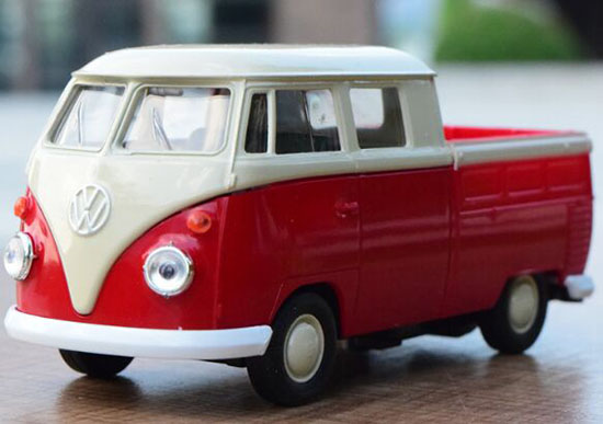 1:36 Scale Kids Red-White Die-Cast VW T1 Pickup Truck Toy