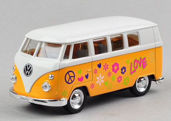 Welly 1:36 Scale Kids Love Words Die-Cast VW Classical Bus Toy