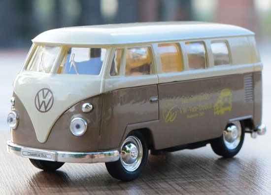 Khaki Welly 1:36 Scale Kids Die-Cast VW T1 Bus Toy