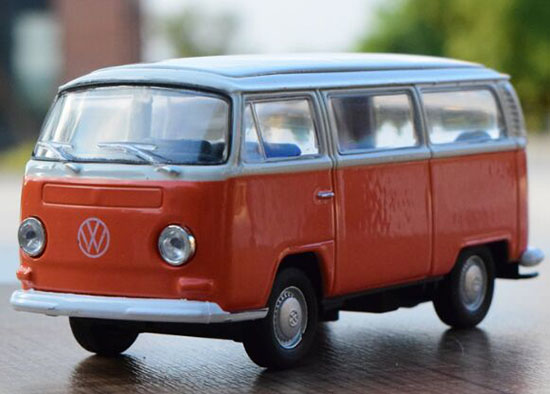 Kids Welly 1:36 Scale Orange Kids Die-Cast 1972 VW T2 Bus Toy