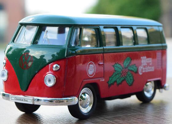 Kids Welly 1:36 Scale Merry Christmas Diecast 1963 VW T1 Bus Toy