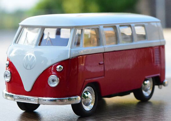 Kids 1:36 Scale Red-White Welly Die-Cast 1963 VW T1 Bus Toy