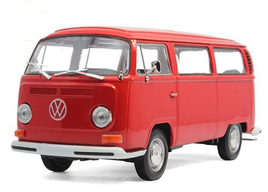 1:24 Scale Welly Red / White Die-Cast 1972 VW T2 Bus Model