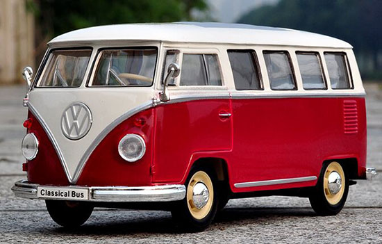 1:24 Scale Red-White Welly Die-Cast 1963 VW T1 Bus Model