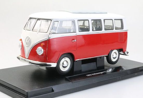 Red / Blue / Gray 1:18 Scale Die-cast 1963 VW T1 Bus Model